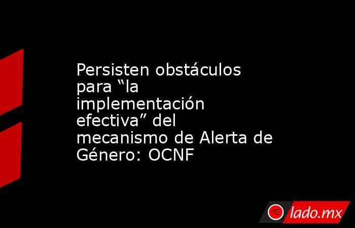 """Persisten obstáculos para """"la implementación efectiva"""" del mecanismo de Alerta de Género: OCNF. Noticias en tiempo real"""
