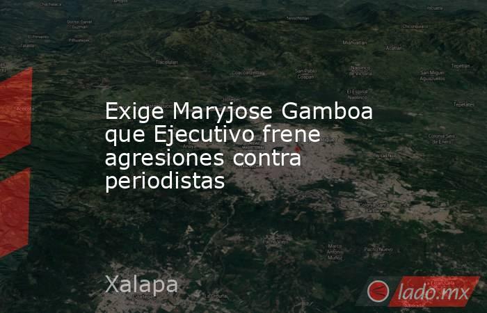 Exige Maryjose Gamboa que Ejecutivo frene agresiones contra periodistas. Noticias en tiempo real