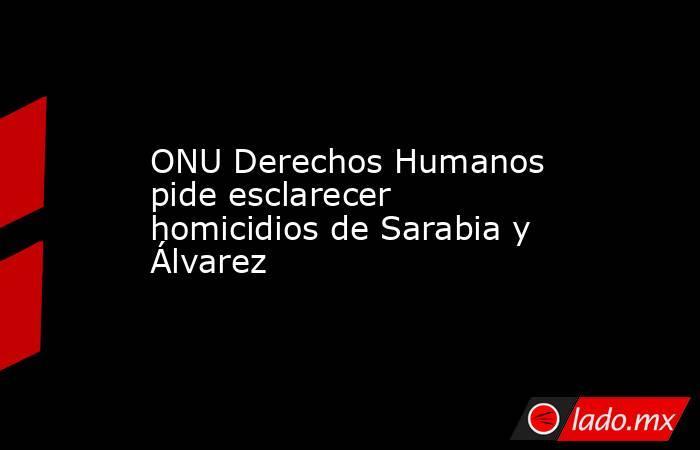ONU Derechos Humanos pide esclarecer homicidios de Sarabia y Álvarez. Noticias en tiempo real