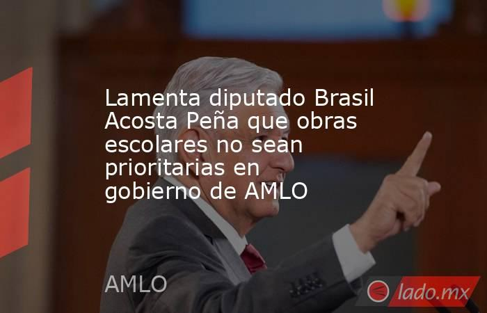 Lamenta diputado Brasil Acosta Peña que obras escolares no sean prioritarias en gobierno de AMLO. Noticias en tiempo real