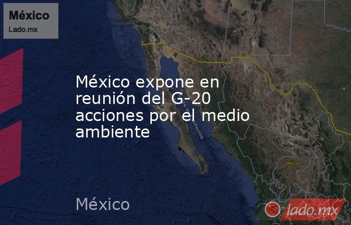 México expone en reunión del G-20 acciones por el medio ambiente. Noticias en tiempo real