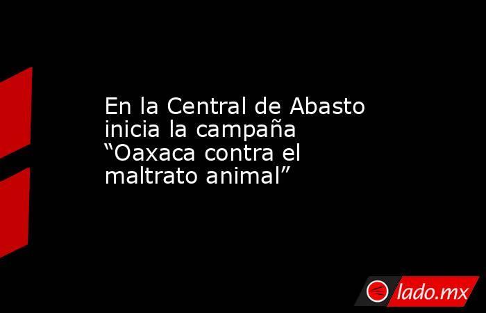 """En la Central de Abasto inicia la campaña """"Oaxaca contra el maltrato animal"""". Noticias en tiempo real"""