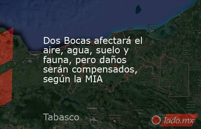 Dos Bocas afectará el aire, agua, suelo y fauna, pero daños serán compensados, según la MIA. Noticias en tiempo real
