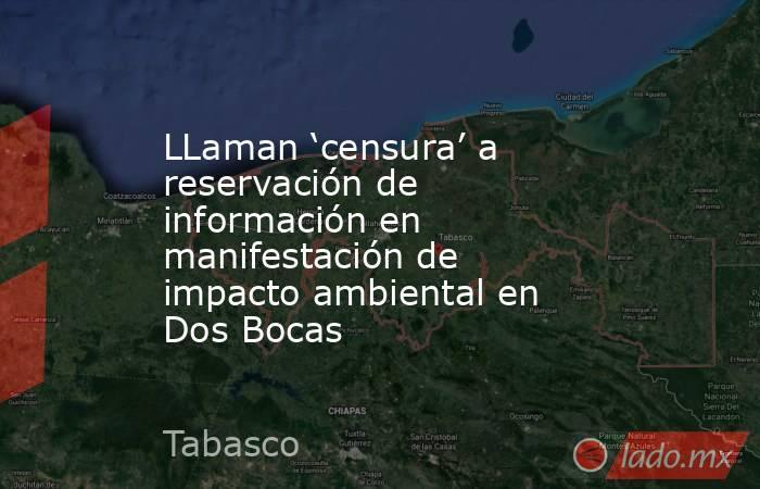 LLaman 'censura' a reservación de información en manifestación de impacto ambiental en Dos Bocas. Noticias en tiempo real