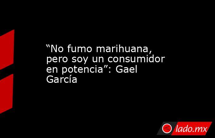 """""""No fumo marihuana, pero soy un consumidor en potencia"""": Gael García. Noticias en tiempo real"""