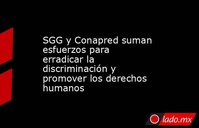 SGG y Conapred suman esfuerzos para erradicar la discriminación y promover los derechos humanos. Noticias en tiempo real
