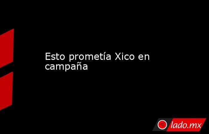 Esto prometía Xico en campaña. Noticias en tiempo real
