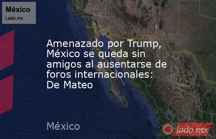 Amenazado por Trump, México se queda sin amigos al ausentarse de foros internacionales: De Mateo. Noticias en tiempo real