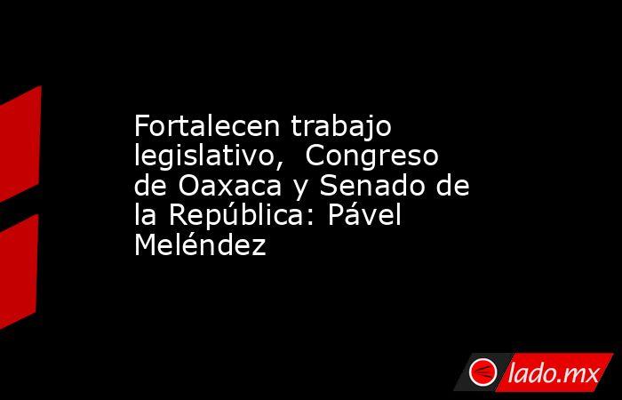 Fortalecen trabajo legislativo,  Congreso de Oaxaca y Senado de la República: Pável Meléndez. Noticias en tiempo real