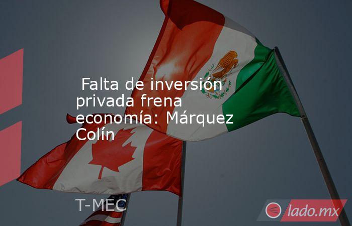 Falta de inversión privada frena economía: Márquez Colín. Noticias en tiempo real