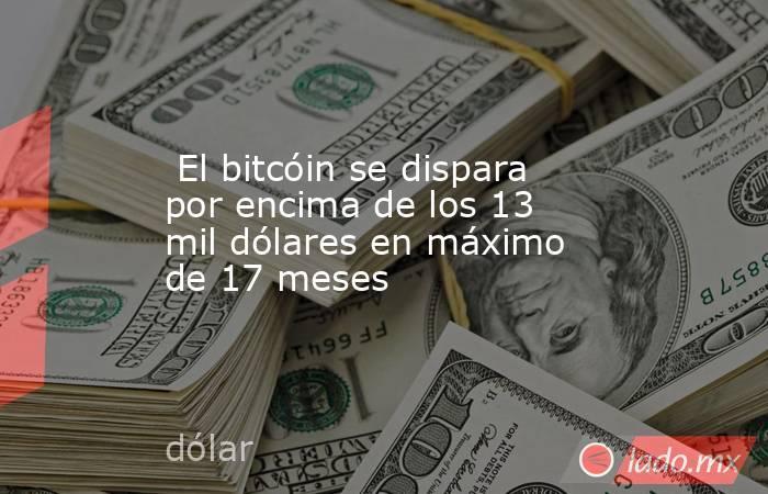 El bitcóin se dispara por encima de los 13 mil dólares en máximo de 17 meses. Noticias en tiempo real