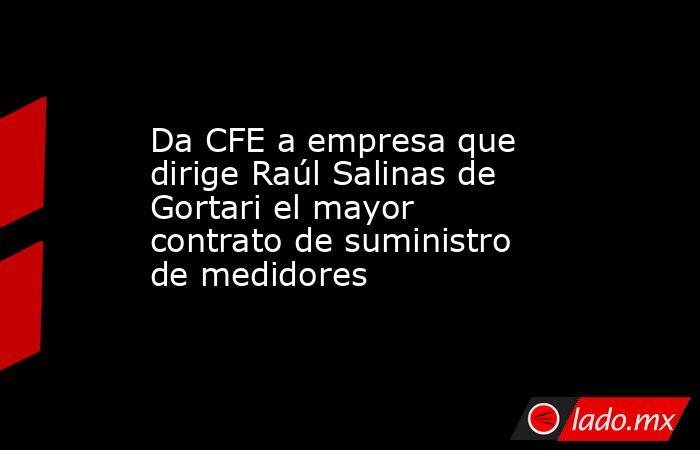 Da CFE a empresa que dirige Raúl Salinas de Gortari el mayor contrato de suministro de medidores. Noticias en tiempo real