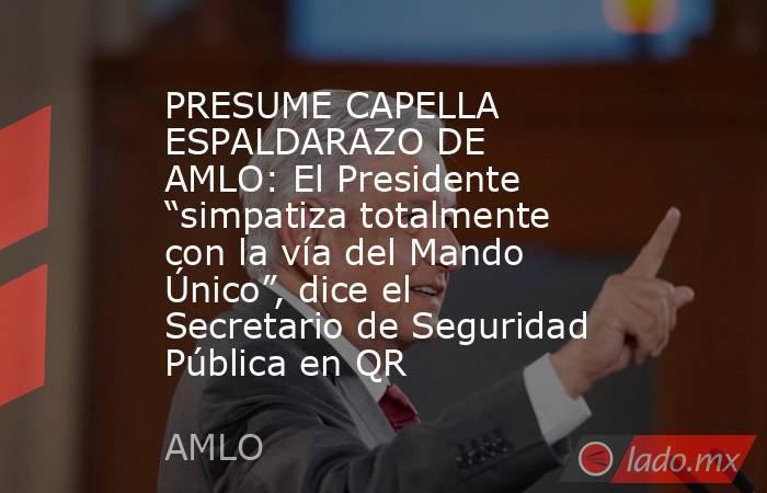 """PRESUME CAPELLA ESPALDARAZO DE AMLO:El Presidente """"simpatiza totalmente con la vía del Mando Único"""", dice el Secretario de Seguridad Pública en QR. Noticias en tiempo real"""