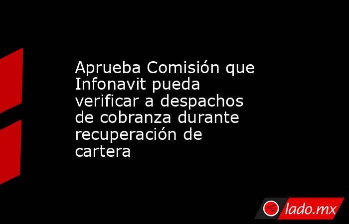 Aprueba Comisión que Infonavit pueda verificar a despachos de cobranza durante recuperación de cartera. Noticias en tiempo real