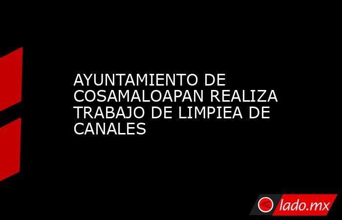 AYUNTAMIENTO DE COSAMALOAPAN REALIZA TRABAJO DE LIMPIEA DE CANALES. Noticias en tiempo real