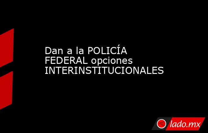 Dan a la POLICÍA FEDERAL opciones INTERINSTITUCIONALES. Noticias en tiempo real