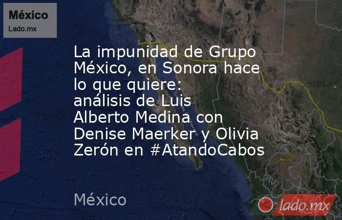 La impunidad de Grupo México, en Sonora hace lo que quiere: análisis de Luis Alberto Medina con Denise Maerker y Olivia Zerón en #AtandoCabos. Noticias en tiempo real