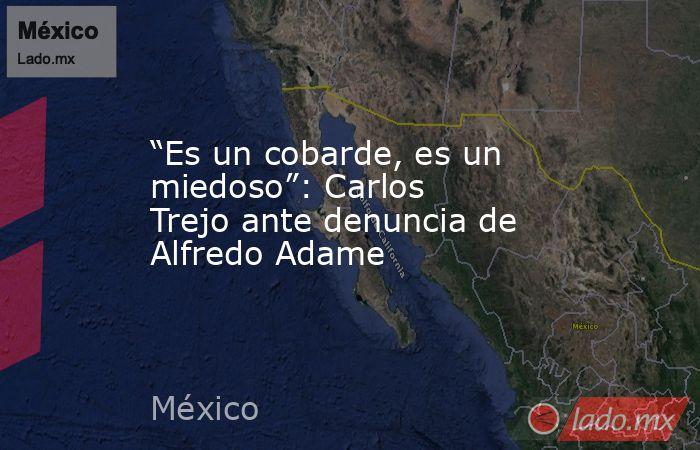 """""""Es un cobarde, es un miedoso"""": Carlos Trejo ante denuncia de Alfredo Adame. Noticias en tiempo real"""