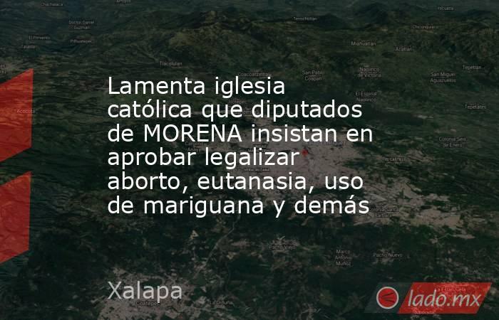 Lamenta iglesia católica que diputados de MORENA insistan en aprobar legalizar aborto, eutanasia, uso de mariguana y demás. Noticias en tiempo real