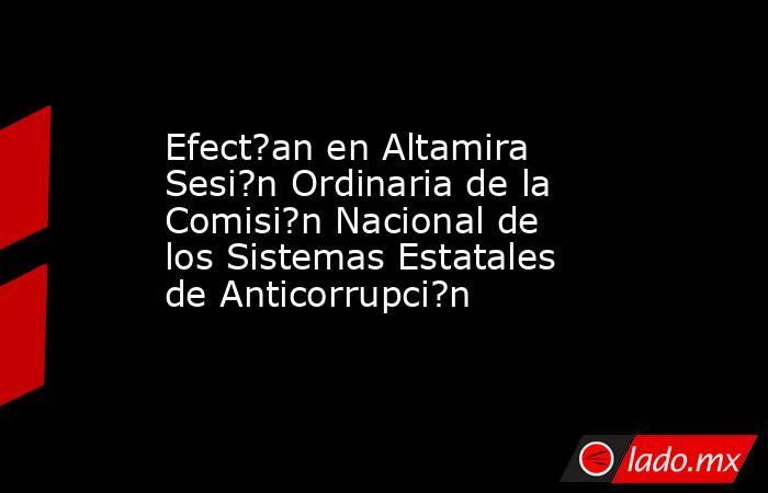 Efect?an en Altamira Sesi?n Ordinaria de la Comisi?n Nacional de los Sistemas Estatales de Anticorrupci?n. Noticias en tiempo real