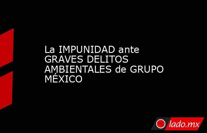 La IMPUNIDAD ante GRAVES DELITOS AMBIENTALES de GRUPO MÉXICO. Noticias en tiempo real