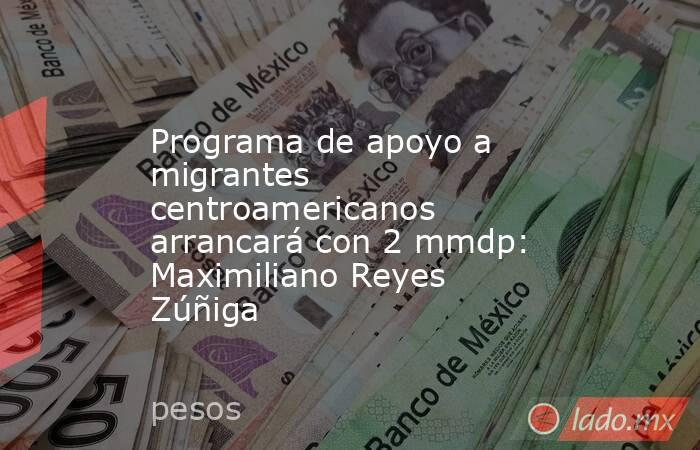 Programa de apoyo a migrantes centroamericanos arrancará con 2 mmdp: Maximiliano Reyes Zúñiga. Noticias en tiempo real