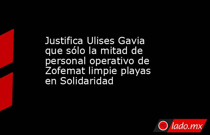 Justifica Ulises Gavia que sólo la mitad de personal operativo de Zofemat limpie playas en Solidaridad. Noticias en tiempo real