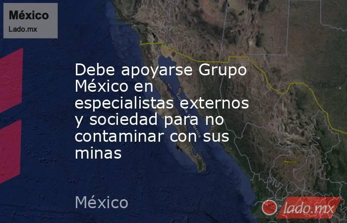 Debe apoyarse Grupo México en especialistas externos y sociedad para no contaminar con sus minas. Noticias en tiempo real