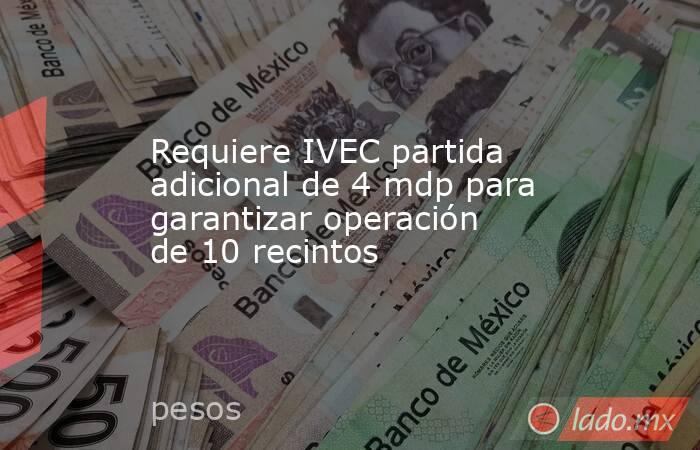 Requiere IVEC partida adicional de 4 mdp para garantizar operación de 10 recintos. Noticias en tiempo real