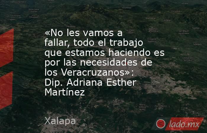 «No les vamos a fallar, todo el trabajo que estamos haciendo es por las necesidades de los Veracruzanos»: Dip. Adriana Esther Martínez. Noticias en tiempo real