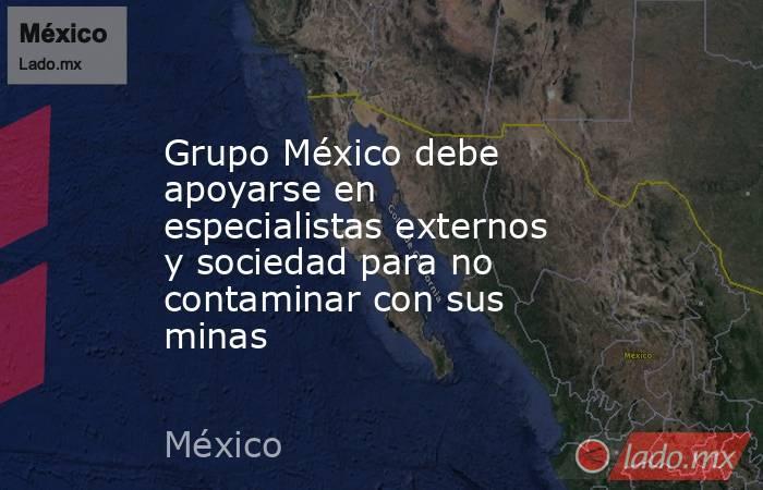 Grupo México debe apoyarse en especialistas externos y sociedad para no contaminar con sus minas. Noticias en tiempo real
