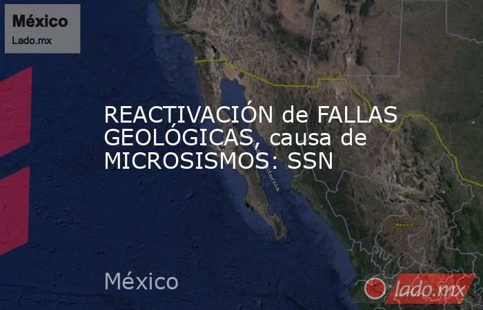 REACTIVACIÓN de FALLAS GEOLÓGICAS, causa de MICROSISMOS: SSN. Noticias en tiempo real