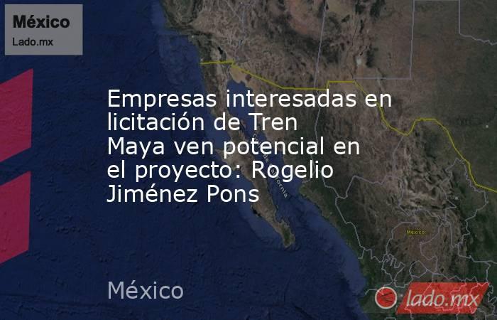 Empresas interesadas en licitación de Tren Maya ven potencial en el proyecto: Rogelio Jiménez Pons. Noticias en tiempo real