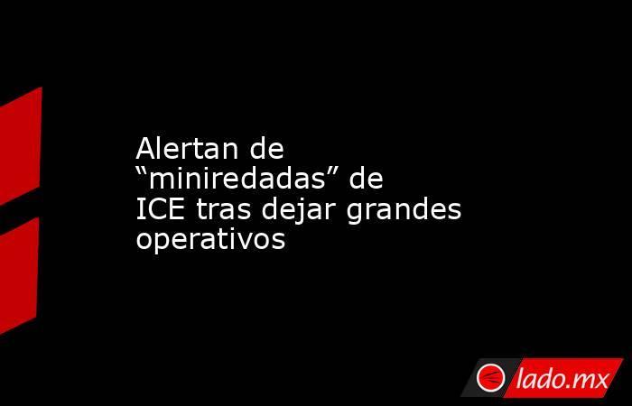 """Alertan de """"miniredadas"""" de ICE tras dejar grandes operativos. Noticias en tiempo real"""