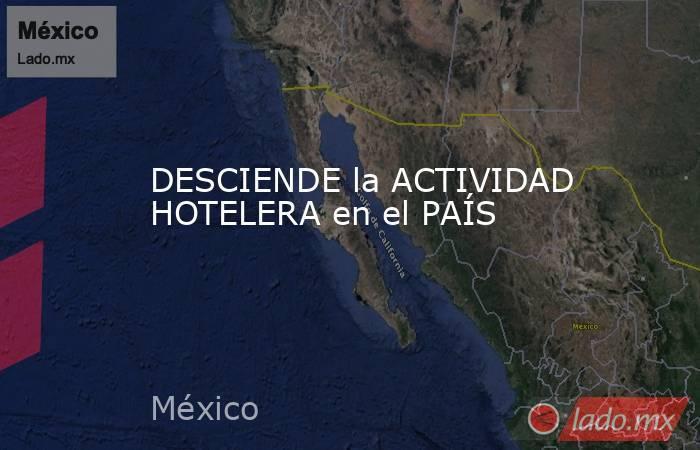 DESCIENDE la ACTIVIDAD HOTELERA en el PAÍS. Noticias en tiempo real
