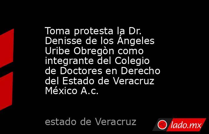 Toma protesta la Dr. Denisse de los Ángeles Uribe Obregòn como integrante del Colegio de Doctores en Derecho del Estado de Veracruz México A.c.. Noticias en tiempo real