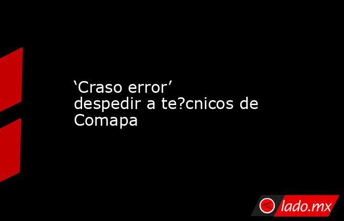 'Craso error' despedir a te?cnicos de Comapa. Noticias en tiempo real