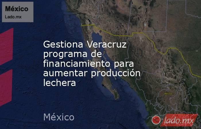 Gestiona Veracruz programa de financiamiento para aumentar producción lechera. Noticias en tiempo real