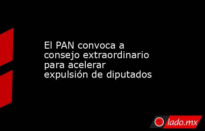 El PAN convoca a consejo extraordinario para acelerar expulsión de diputados. Noticias en tiempo real