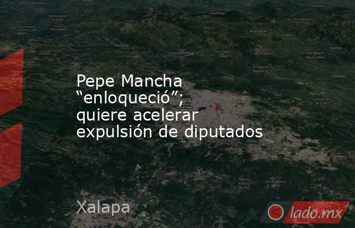 """Pepe Mancha """"enloqueció""""; quiere acelerar  expulsión de diputados. Noticias en tiempo real"""
