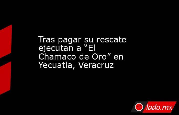 """Tras pagar su rescate ejecutan a """"El Chamaco de Oro"""" en Yecuatla, Veracruz. Noticias en tiempo real"""
