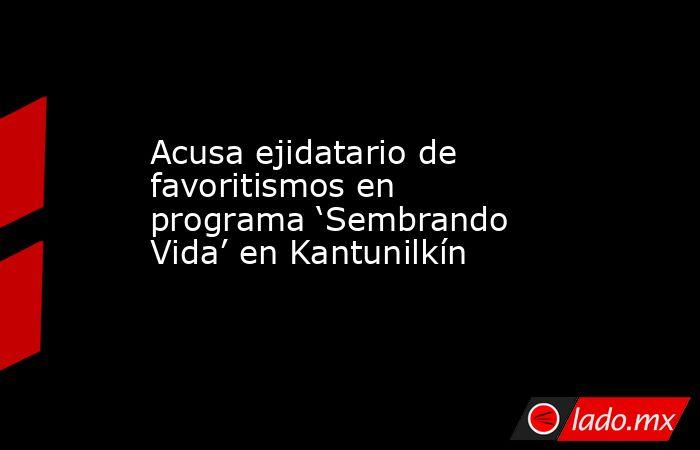 Acusa ejidatario de favoritismos en programa 'Sembrando Vida' en Kantunilkín. Noticias en tiempo real
