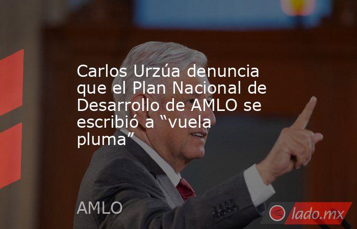 """Carlos Urzúa denuncia que el Plan Nacional de Desarrollo de AMLO se escribió a """"vuela pluma"""". Noticias en tiempo real"""