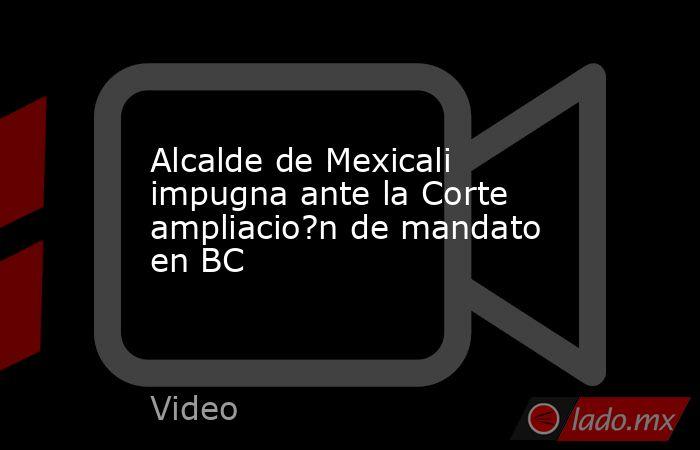 Alcalde de Mexicali impugna ante la Corte ampliacio?n de mandato en BC. Noticias en tiempo real