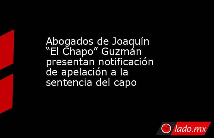 """Abogados de Joaquín """"El Chapo"""" Guzmán presentan notificación de apelación a la sentencia del capo. Noticias en tiempo real"""