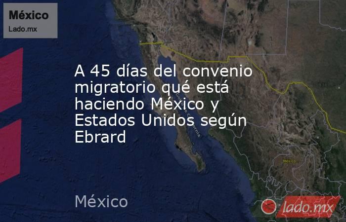 A 45 días del convenio migratorio qué está haciendo México y Estados Unidos según Ebrard. Noticias en tiempo real