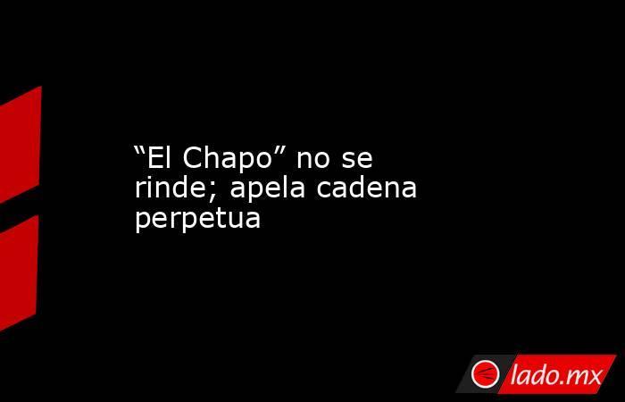 """""""El Chapo"""" no se rinde; apela cadena perpetua. Noticias en tiempo real"""
