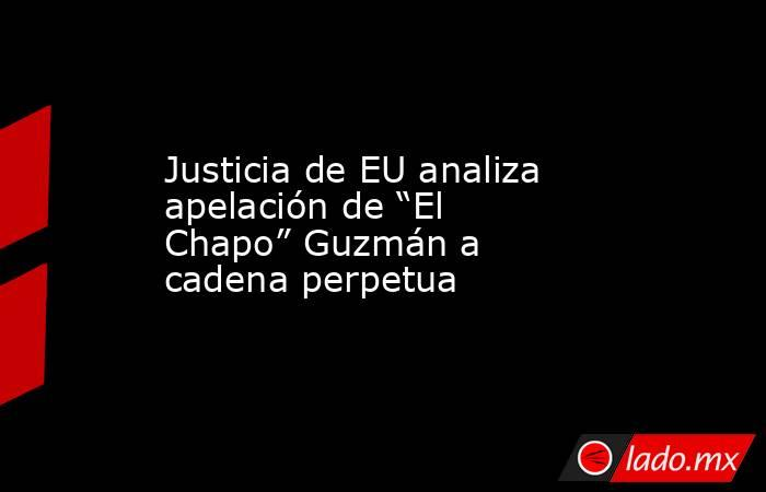 """Justicia de EU analiza apelación de """"El Chapo"""" Guzmán a cadena perpetua. Noticias en tiempo real"""