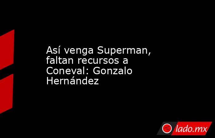Así venga Superman, faltan recursos a Coneval: Gonzalo Hernández. Noticias en tiempo real
