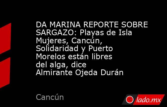 DA MARINA REPORTE SOBRE SARGAZO: Playas de Isla Mujeres, Cancún, Solidaridad y Puerto Morelos están libres del alga, dice Almirante Ojeda Durán. Noticias en tiempo real